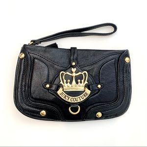 Juicy Couture Black Leather Wristlet W/Gold Crown